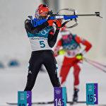 Немецкая биатлонистка Ванесса Хинц на стрельбище гонки преследования среди женщин (12 февраля 2018). Пхенчхан, Южная Корея