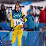 Шведский биатлонист Себастьян Самуэльссон при подходе к стрельбищу гонки преследования среди мужчин (12 февраля 2018). Пхенчхан, Южная Корея