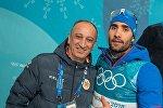 Спортивный комментатор Sputnik Армения Хачик Чахоян и четырехкратный Олимпийский чемпион Мартен Фуркад