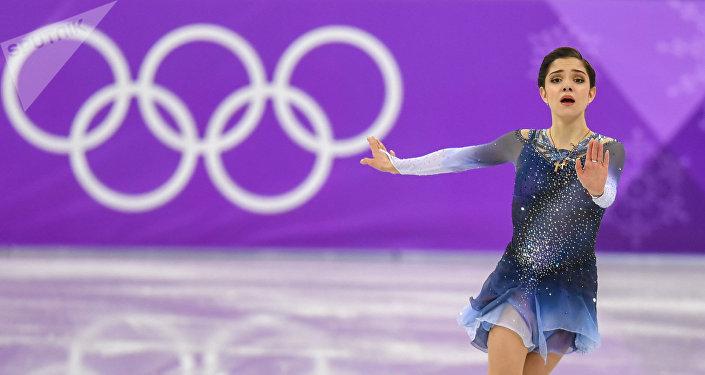 Фигурное катание, короткая программа, женщины. Евгения Медведева (21 февраля 2018). Пхенчхан, Южная Корея