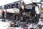 Видео Последствия аварии с грузовиком и пассажирским автобусом в Воронежской области