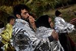 Мигранты из Сирии на греческом острове Лесбос
