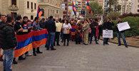 Акция протеста испанских армян против действий Азербайджана