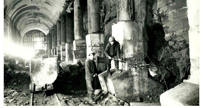 Строительство туннеля станции Маршал Баграмян, 1978 год