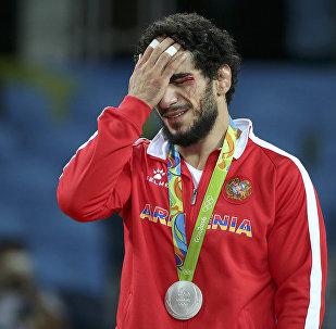 Мигран Арутюнян после боя за золото с Давором Штефанеком на Олимпийский играх в Рио де-Жанейро
