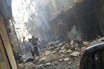 Последствия минометного обстрела в Алеппо