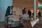 Пассажиры получают багаж в аэропорту Звартноц