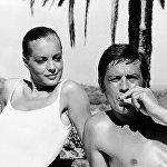 Ален Делон с Роми Шнайдер на съемках фильма Бассейн