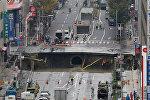 Провалившийся участок дороги в Японии