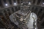 Работы по вскрытию гробницы Иисуса Христа в Храме Гроба Господня в Иерусалиме