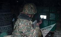 Военнослужащий армянской армии на боевом посту
