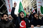 Участники антироссийской акции в Стамбуле