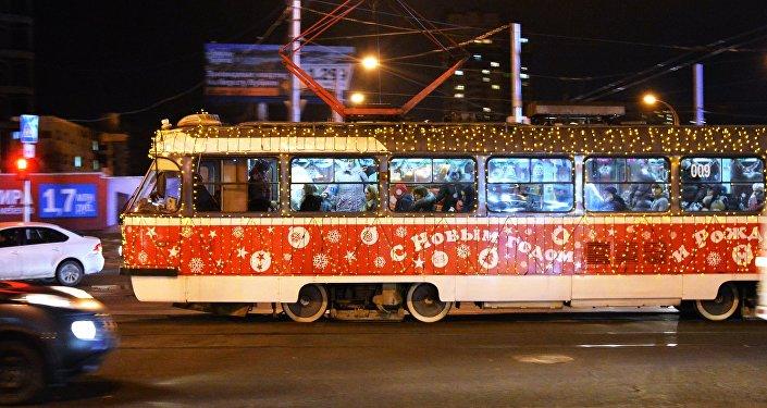 Новогодний трамвай в Краснодаре