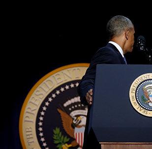 Барак Обама после прощальной речи в Чикаго