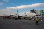Самолет авиакомпании Armenia c символом незабудки