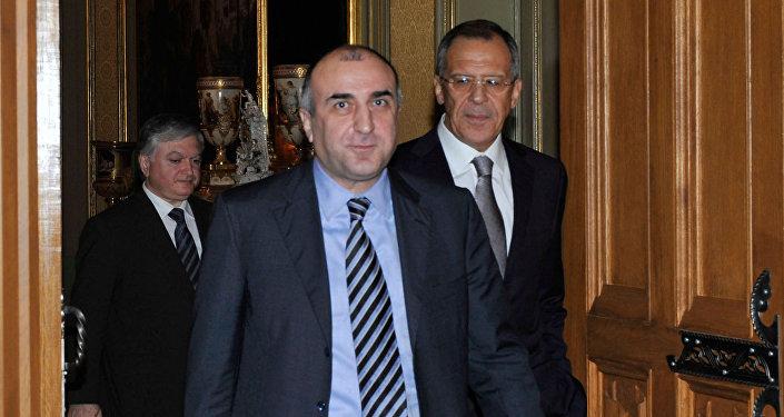 Главы МИД России, Армении и Азербайджана во время встречи в Москве