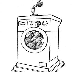 Карикатура. Промывание мозгов