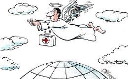 Карикатура. Ангел-хранитель