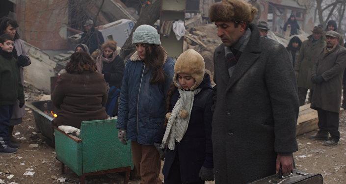 Кадры со съемок фильма Спитак