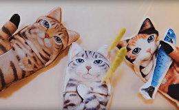 В Японии сделали перчатки для смартфона в виде кота