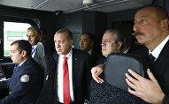 Президент Турции Реджеп Тайип Эрдоган (третий слева), Президент Азербайджана Ильхам Алиев (справа) и премьер-министр Грузии Георгий Квирикашвили