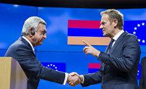 Президент Армении Серж Саргсян и президент ЕС Дональд Туск