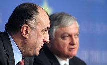Министры иностранных дел Азербайджана и Армении Эльмар Мамедъяров и Эдвард Налбандян