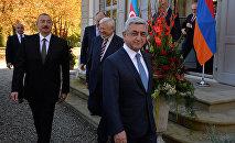 После встречи президентов РА Сержа Саргсяна и АР Ильхама Алиева. Женева, Швейцария