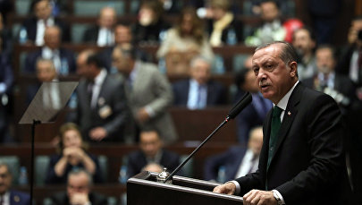 Президент Турции Реджеп Тайип Эрдоган обращается к членам парламента правящей Партии Справедливости и Развития /7 ноября 2017/. Анкара, Турция.